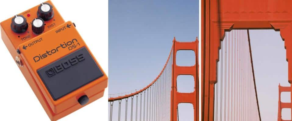 the Boss DS-1 guitar pedal and the Golden Gate Bridge side by side