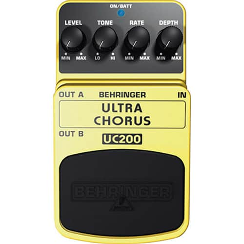 Top view of the Behringer UC200 Ultra Chorus guitar pedal